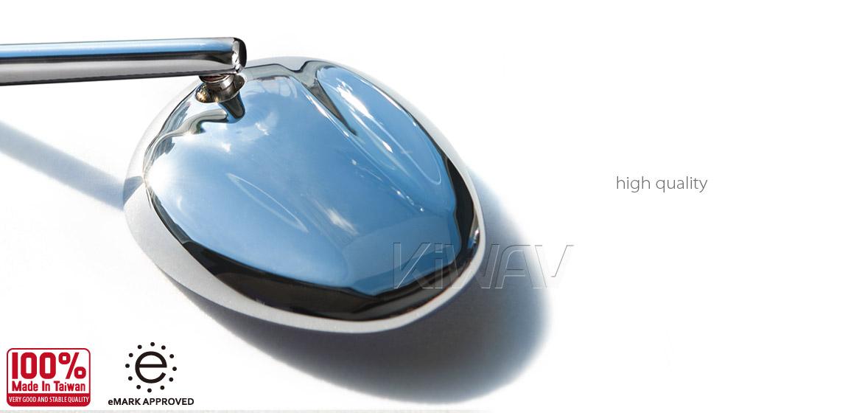KiWAV motorcycle Ellipse chrome sportsbike mirrors with chrome base for sportsbike