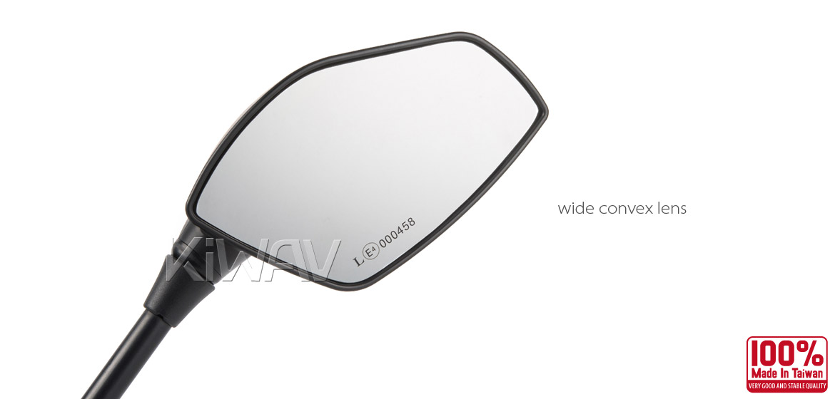KiWAV Fin black motorcycle mirrors scooter fit Magazi