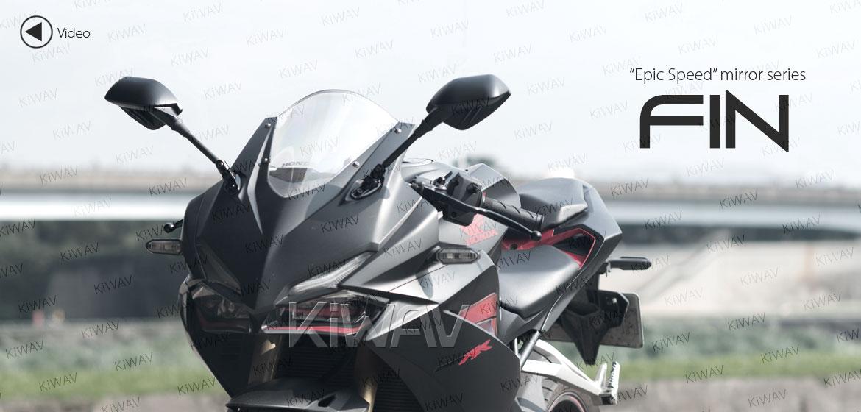 KiWAV Fin black fairing mount rearview mirrors for sportsbike motorcycle Magazi