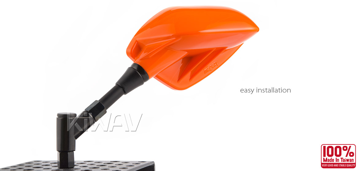 KiWAV Fin orange motorcycle mirrors scooter fit Magazi