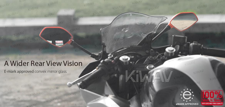 Fin orange fairing mount mirrors for sportsbike