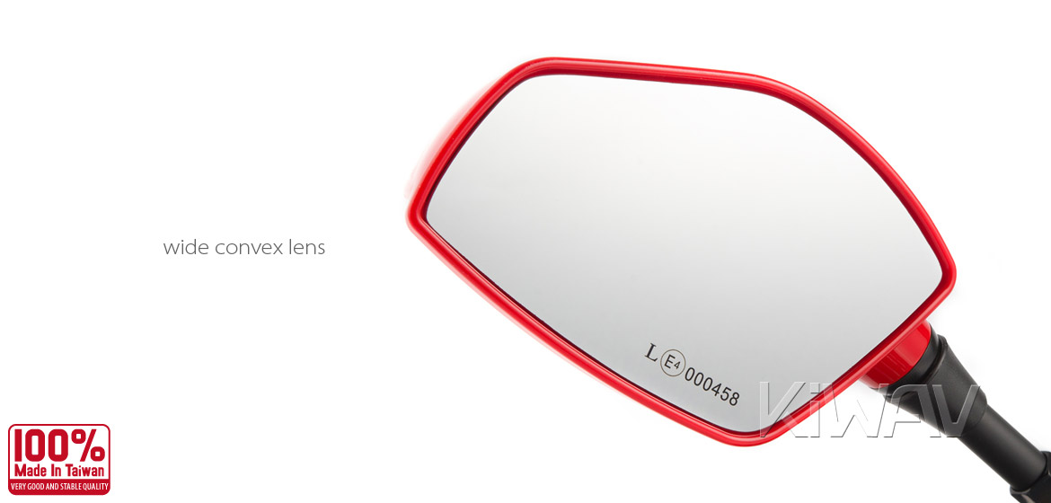 KiWAV Fin red motorcycle mirrors scooter fit Magazi