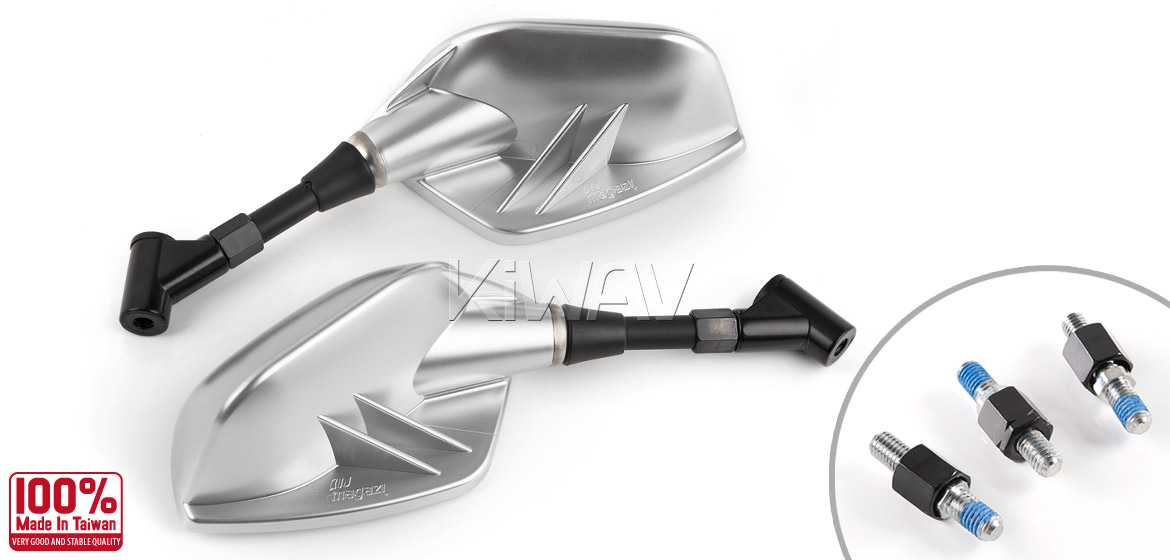 KiWAV Fin silver motorcycle mirrors scooter fit Magazi