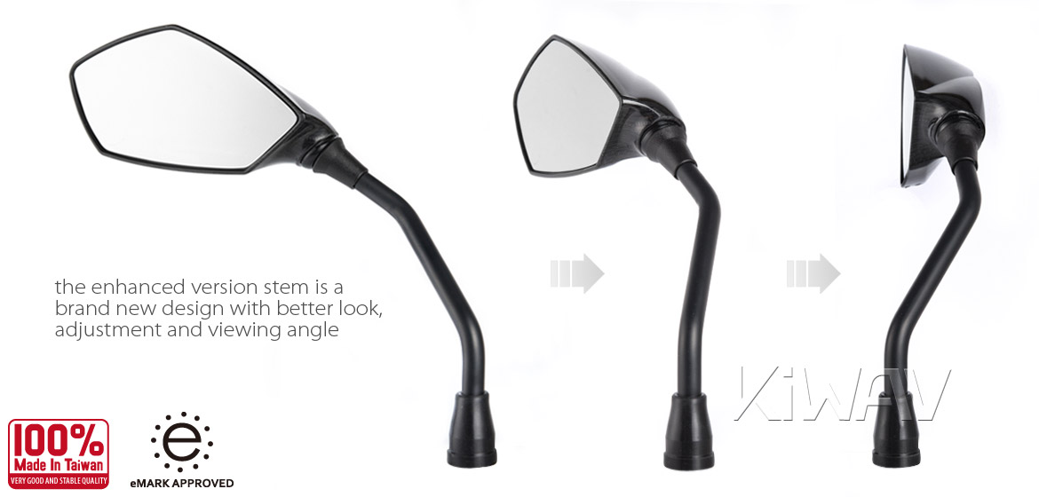 KiWAV 2nd generation Fist carbon motorcycle mirrors scooter fit Magazi