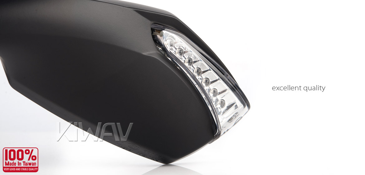 KiWAV motorcycle mirrors FistLED black 10mm scooter Magazi