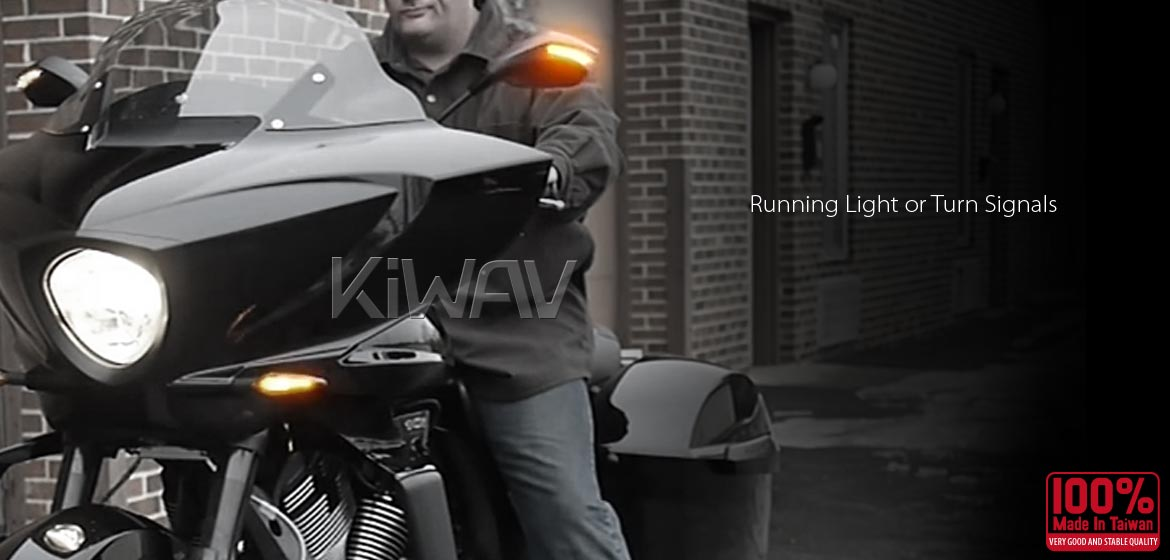 KiWAV motorcycle mirrors FistLED black for scooter
