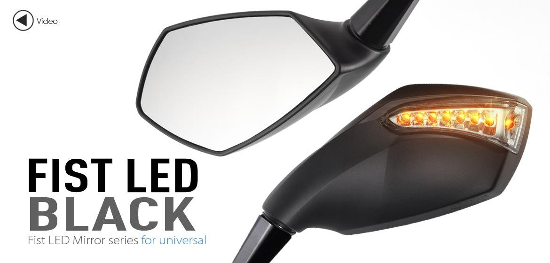 KiWAV motorcycle mirrors FistLED black 10mm universal