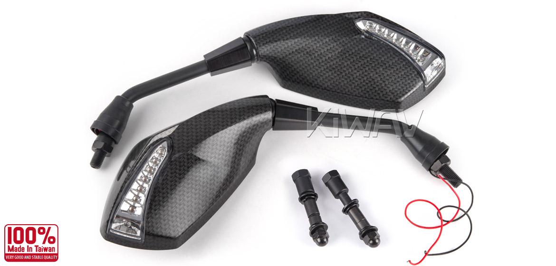 KiWAV motorcycle mirrors FistLED carbon Harley Magazi