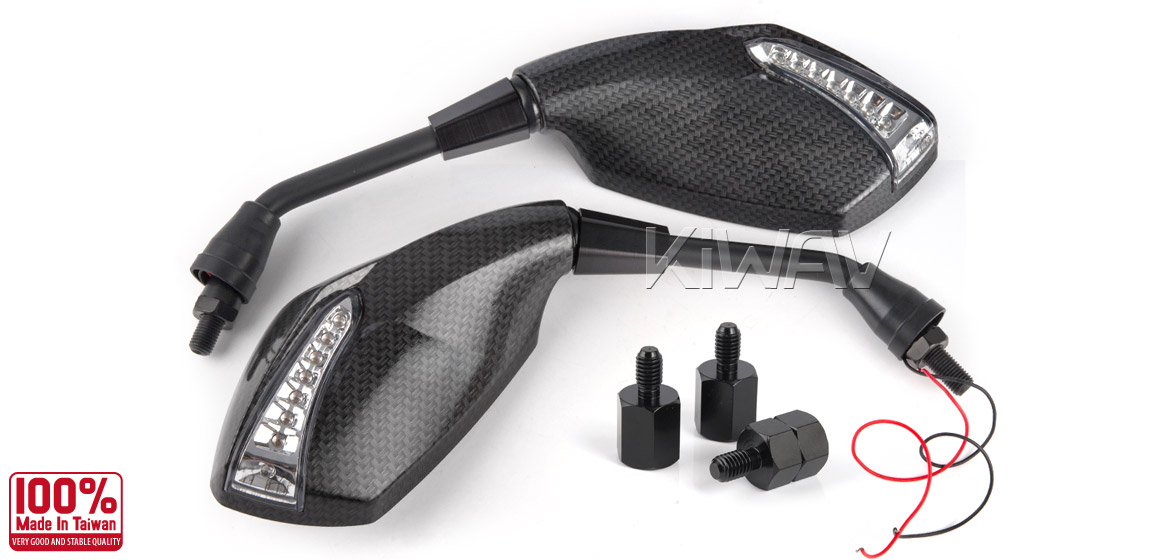 KiWAV motorcycle mirrors FistLED carbon 10mm scooter Magazi