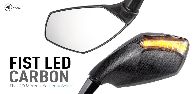 KiWAV motorcycle mirrors FistLED carbon 10mm universal