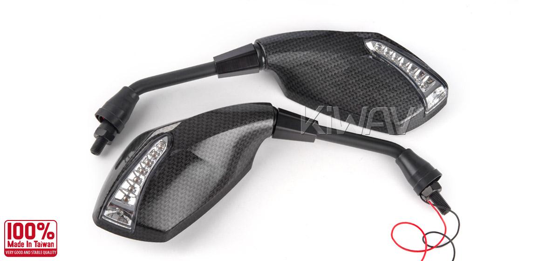 KiWAV motorcycle mirrors FistLED carbon 10mm universal Magazi