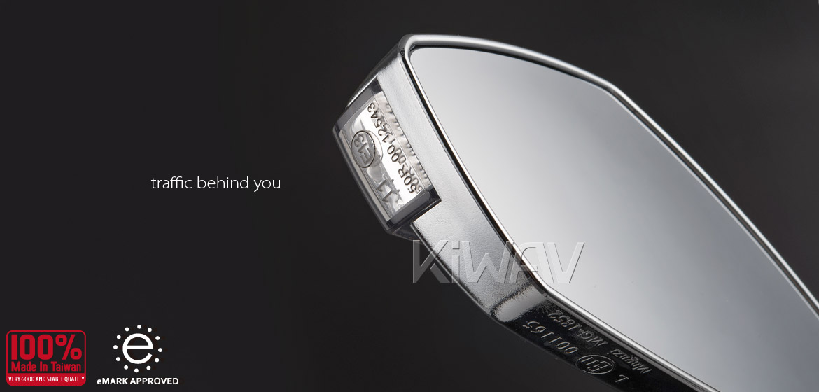 KiWAV motorcycle mirrors FistLED sandblast chrome 10mm scooter Magazi