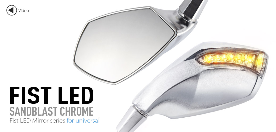 KiWAV motorcycle mirrors FistLED chrome 10mm universal