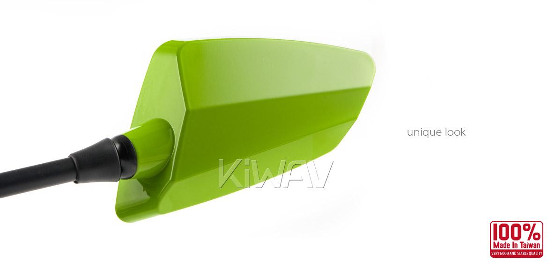 KiWAV Hawk green motorcycle mirrors scooter fit Magazi