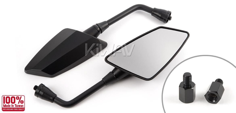 KiWAV Hawk mat black motorcycle mirrors bmw fit Magazi