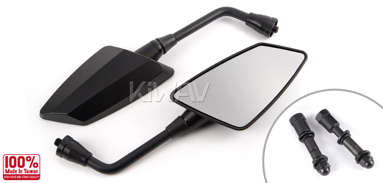 KiWAV Hawk mat black motorcycle mirrors harley fit Magazi