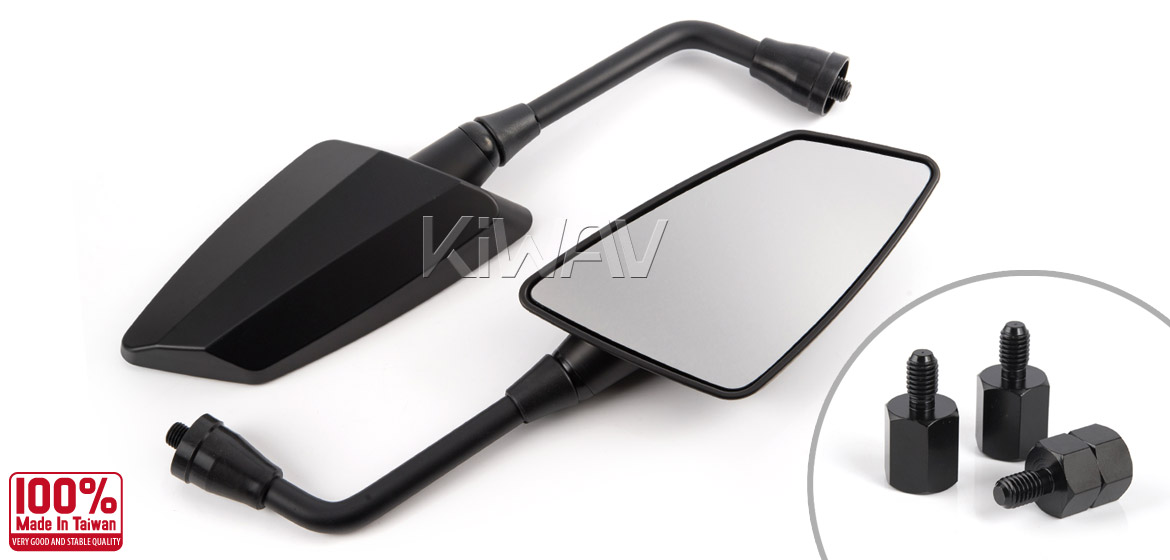 KiWAV Hawk mat black motorcycle mirrors scooter fit Magazi