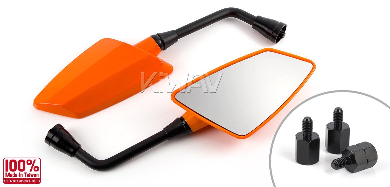 KiWAV Hawk orange motorcycle mirrors scooter fit Magazi