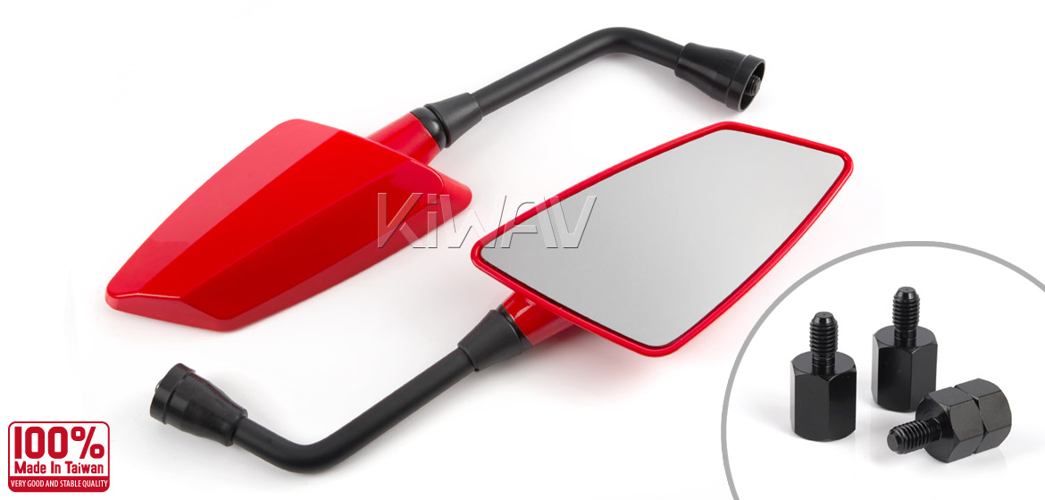 KiWAV Hawk red motorcycle mirrors scooter fit Magazi