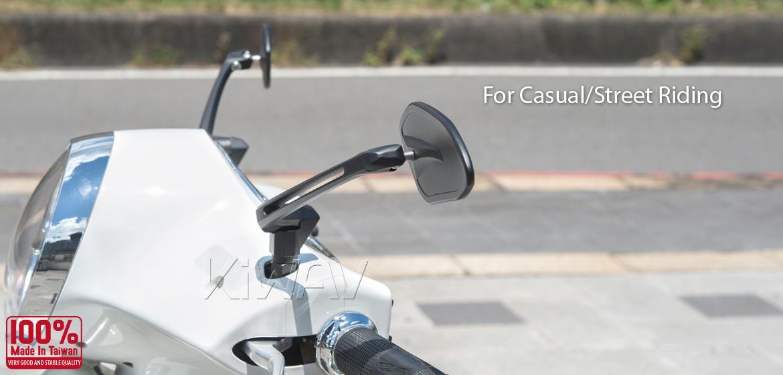 KiWAV motorcycle mirrors Horus black compatible for most modern Vespa models, GTS/ GTV/ LX/ LT/ LXV/ S