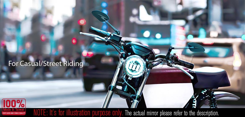 KiWAV motorcycle mirrors Horus black compatible for most Harley Davidson
