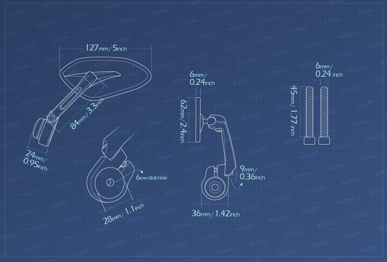 Measurement of KiWAV motorcycle bar end mirrors Horus compatible for M6 threaded handlebars