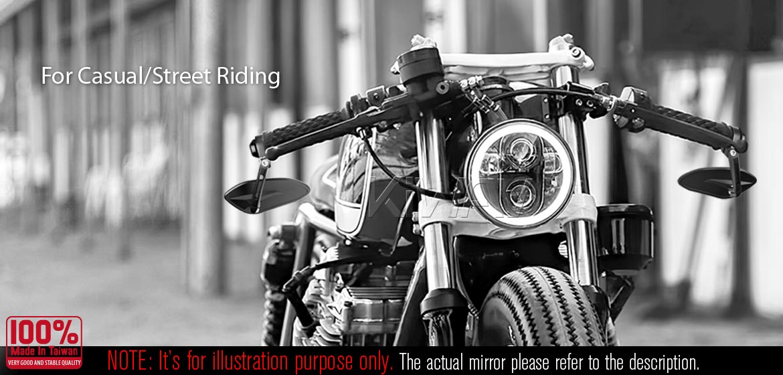 KiWAV motorcycle bar end mirrors Horus black compatible for M6 threaded handlebars