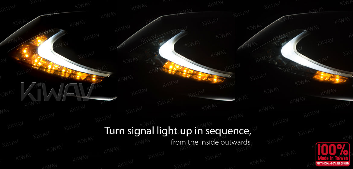 KiWAV motorcycle Two-tone LED with sequential effect mirrors Lucifer carbon for Harley Davidson Magazi