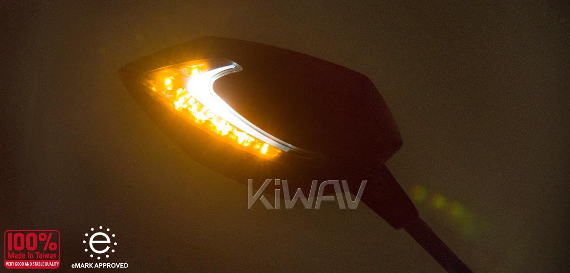 KiWAV motorcycle Two-tone LED with sequential effect mirrors Lucifer black for Harley Davidson