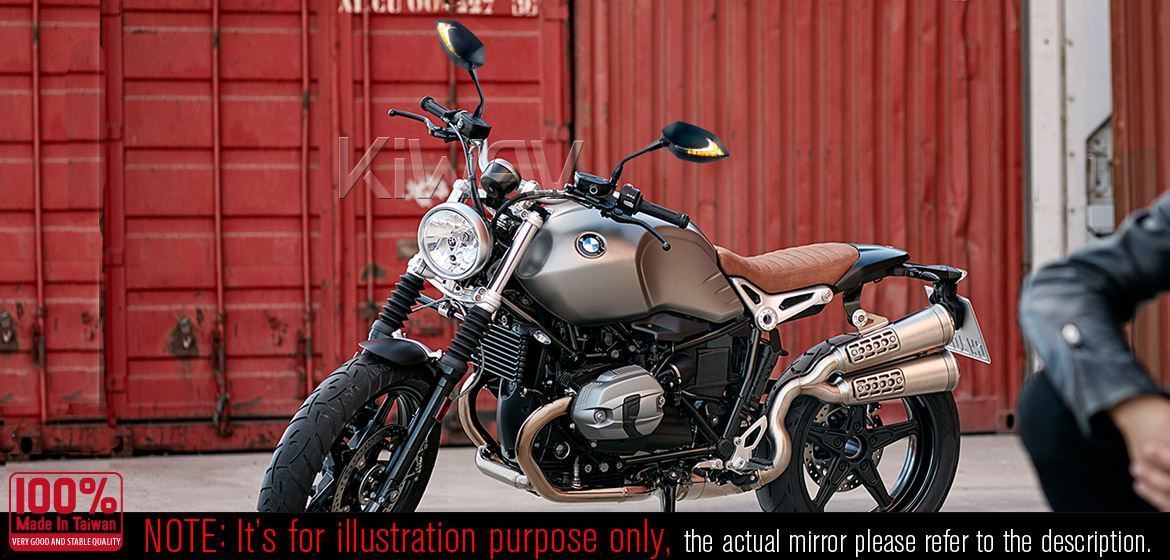 KiWAV motorcycle Two-tone LED with sequential effect mirrors Lucifer black for BMW 10mm 1.5 pitch Magazi