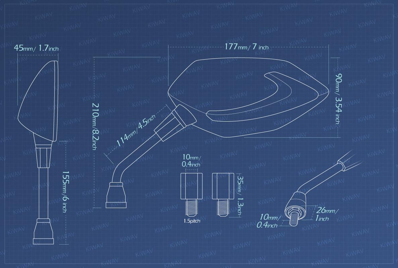 Measurement of KiWAV motorcycle mirrors Lucifer LED neat stem Metric BMW 10mm 1.5 pitch