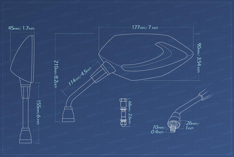 Measurement of KiWAV motorcycle mirrors Lucifer LED neat stem Metric Harley Davidson
