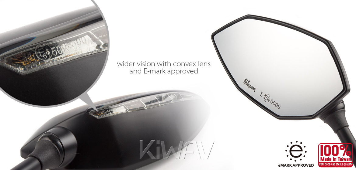 KiWAV Lucifer black LED motorcycle mirrors fit Harley