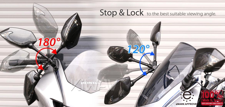 KiWAV Oi & Lucifer black LED motorcycle mirrors for sportsbike