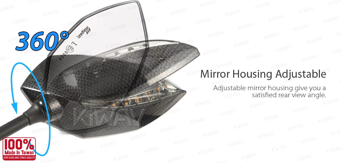 KiWAV Oi & Lucifer carbon LED motorcycle mirrors for Harley