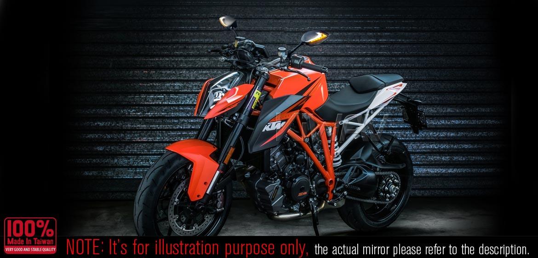 KiWAV motorcycle Two-tone LED mirrors Lucifer carbon for Harley Davidson Magazi