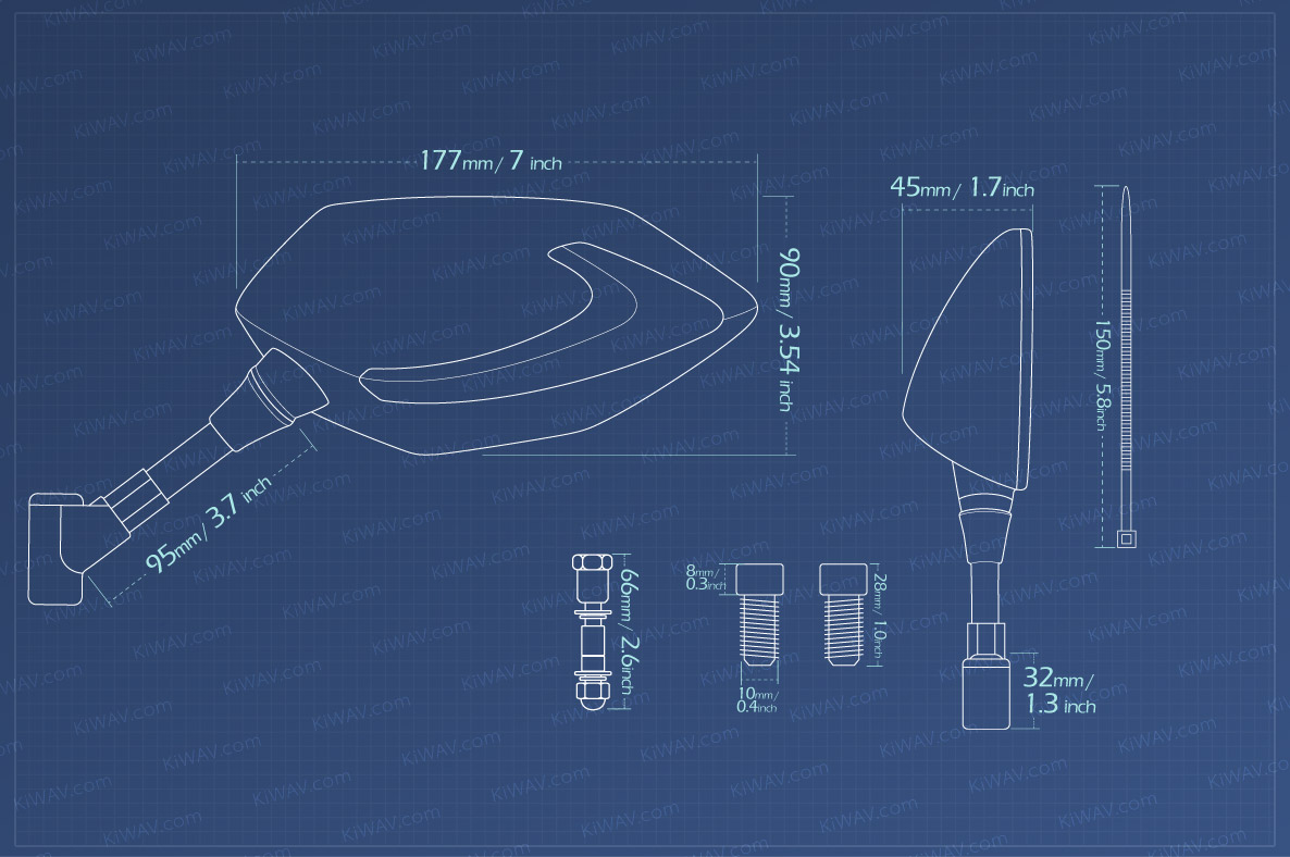 Kiwav Lucifer Rearview Mirrors 2led Emark 5 16 For Harley Super 1996 Fxds Wiring Diagram Item Size Measurement Graph