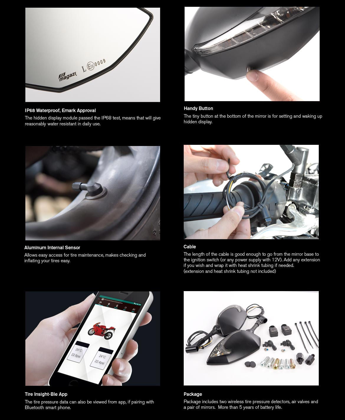 KiWAV motorcycle mirrors with TPMS Lucifer black for most BMW motorcycles