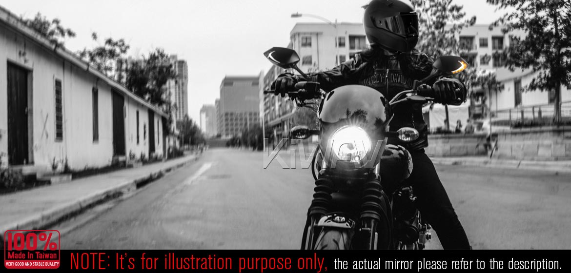KiWAV motorcycle mirrors with TPMS Lucifer black for Harley street 500/750