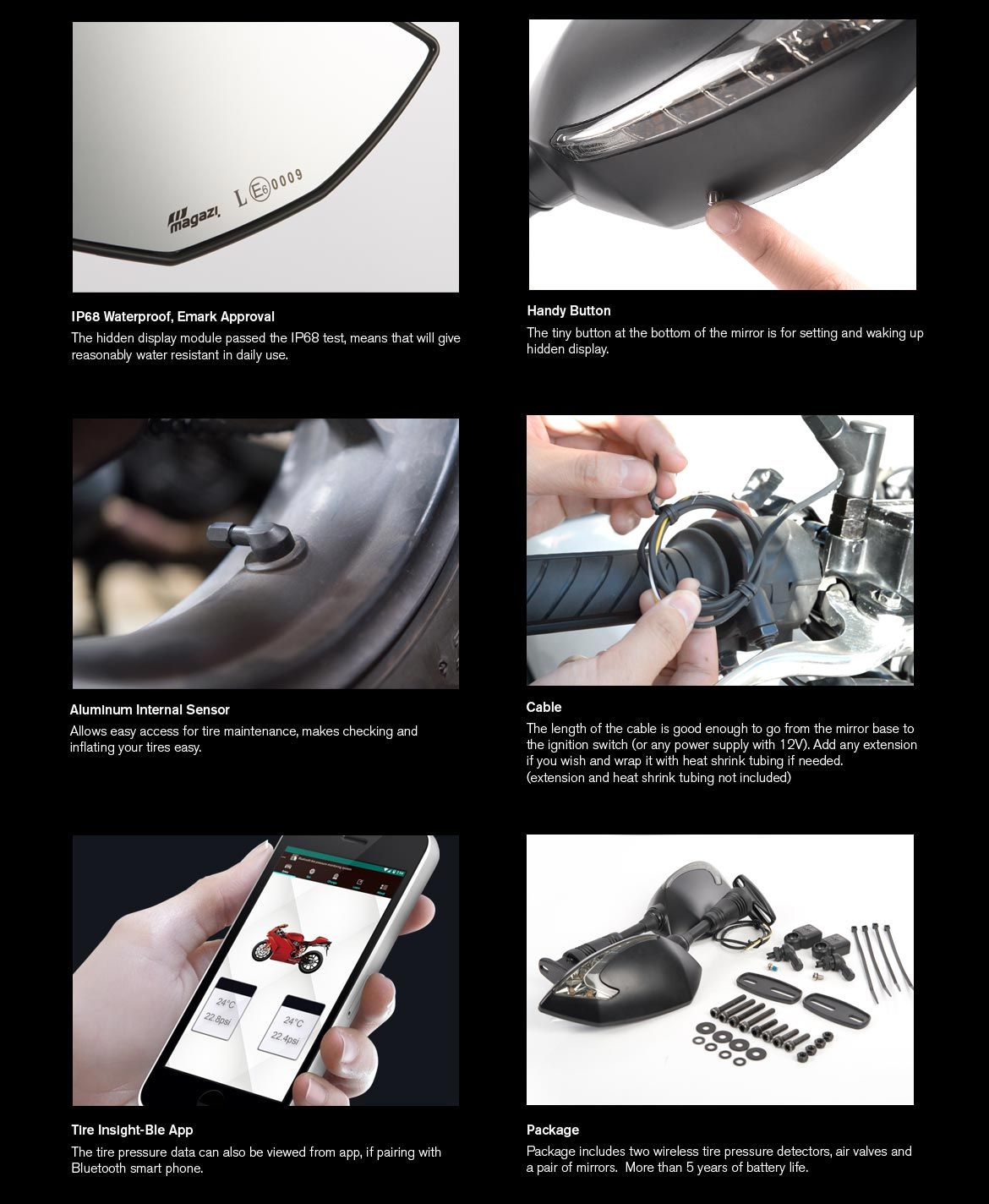 KiWAV motorcycle mirrors with TPMS Lucifer black for sportsbike