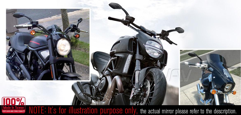 KiWAV Medusa black motorcycle mirrors fit scooter