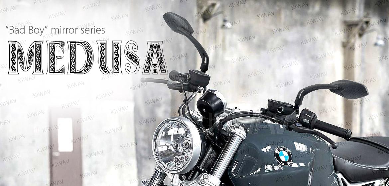KiWAV Medusa carbon motorcycle mirrors fit BMW