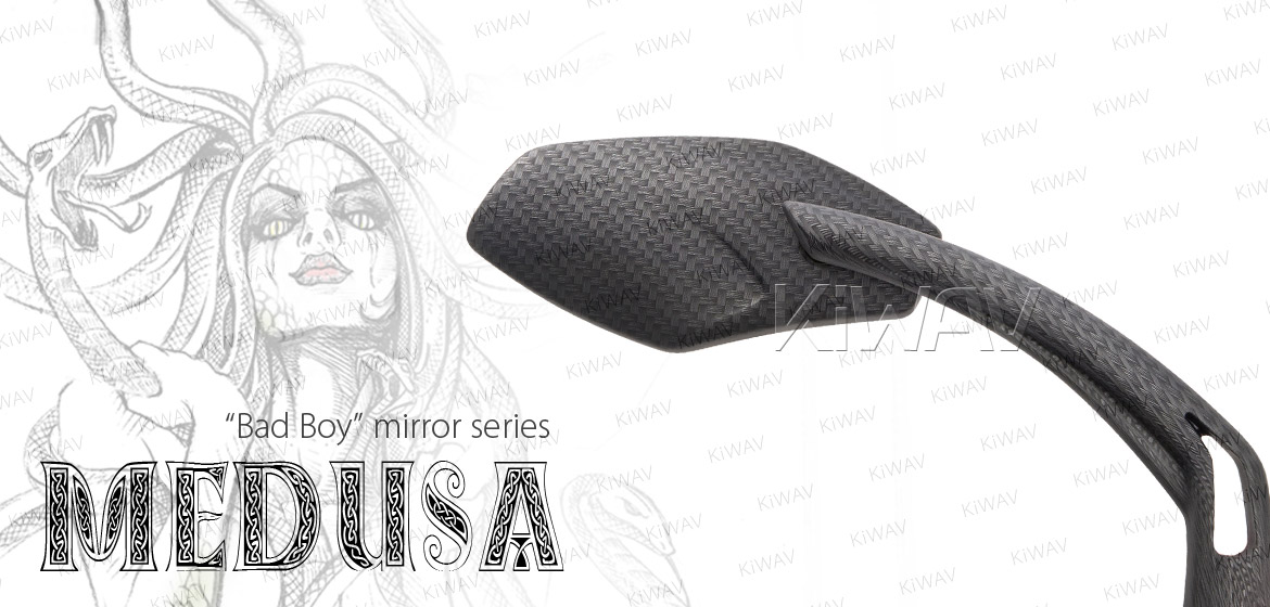 KiWAV Medusa carbon motorcycle mirrors fit scooter