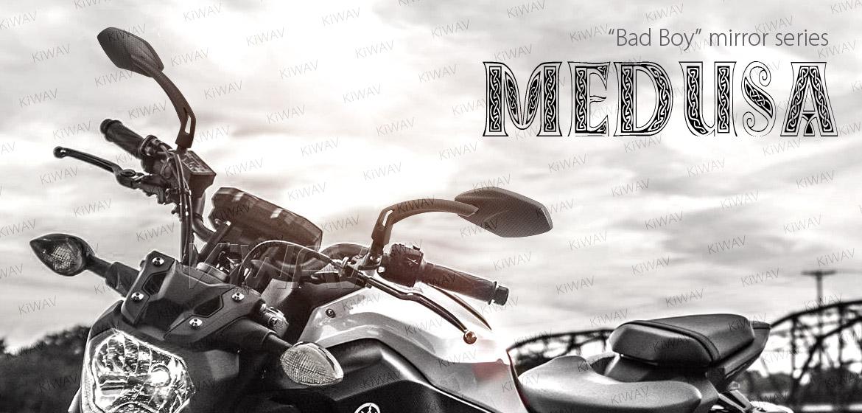 KiWAV Medusa carbon motorcycle mirrors universal fit