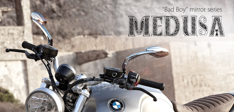 KiWAV Medusa chrome motorcycle mirrors fit BMW