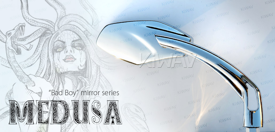 KiWAV Medusa chrome motorcycle mirrors fit scooter
