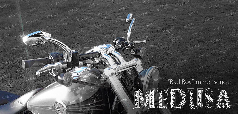 KiWAV Medusa chrome motorcycle mirrors universal fit