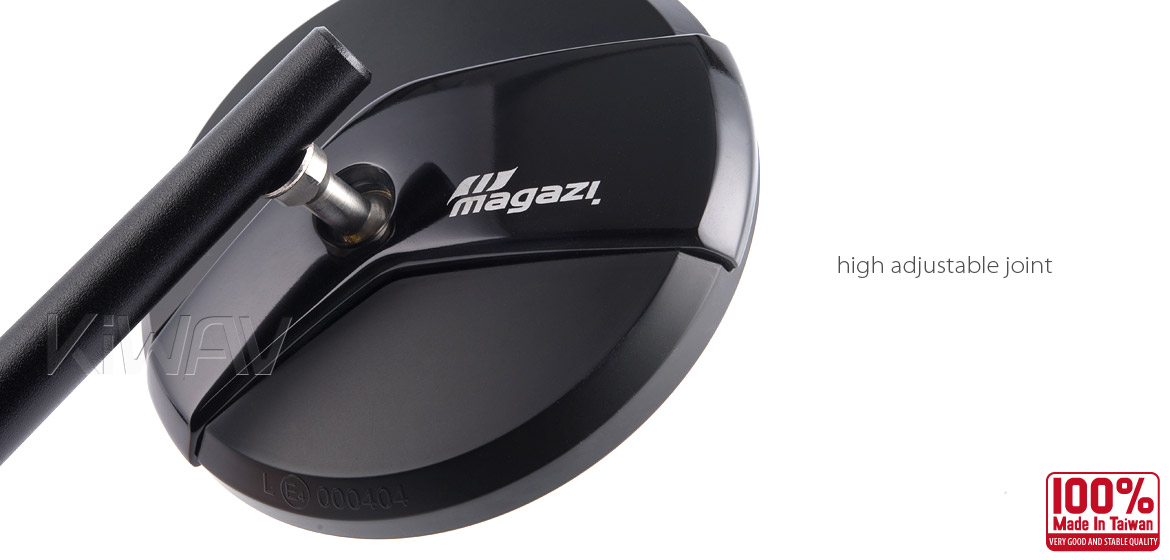 Magazi Missie black matte stem mirrors a pair for scooter motorcycle, golf cart
