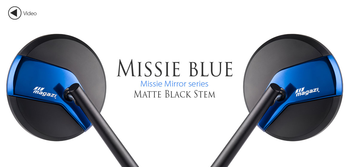 Magazi Missie blue matte stem mirrors a pair for scooter motorcycle, golf cart