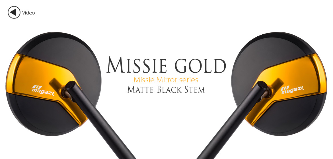 Magazi Missie gold matte stem mirrors a pair for scooter motorcycle, golf cart